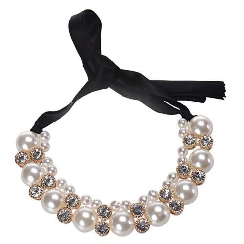 Populaire double rangée Imitation Pearl Bande Ruban Bijoux les colliers Colliers Cadeau