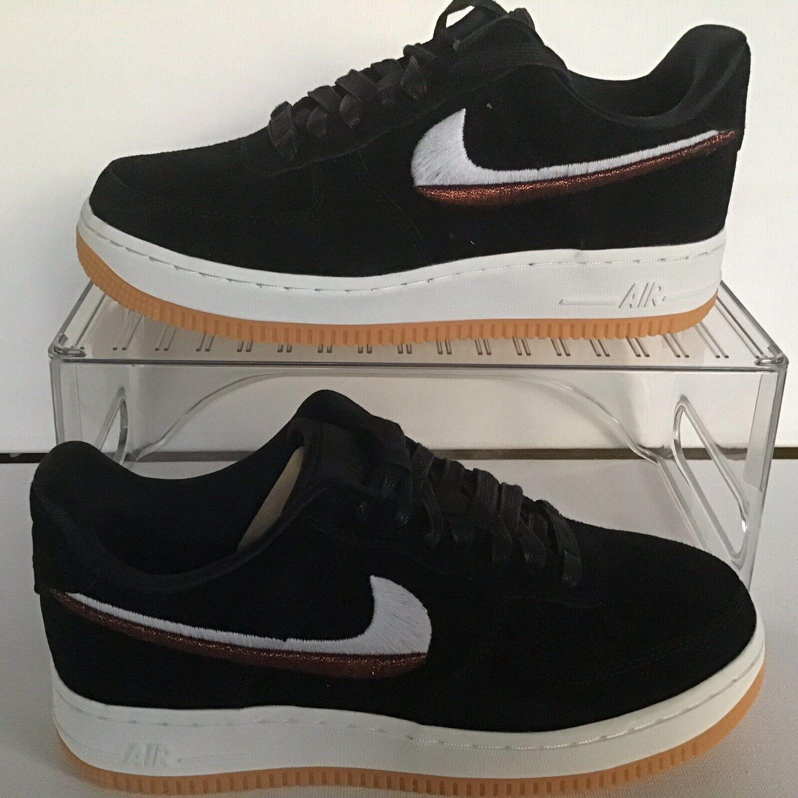 Wmns Nike Air Force 1 '07 LX Black Black-Gum Yellow Wmns.Size 5.5 (898889 010)