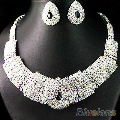 Women Lady Collar Rhinestone Statement Bib Necklace Earrings Set Captivating