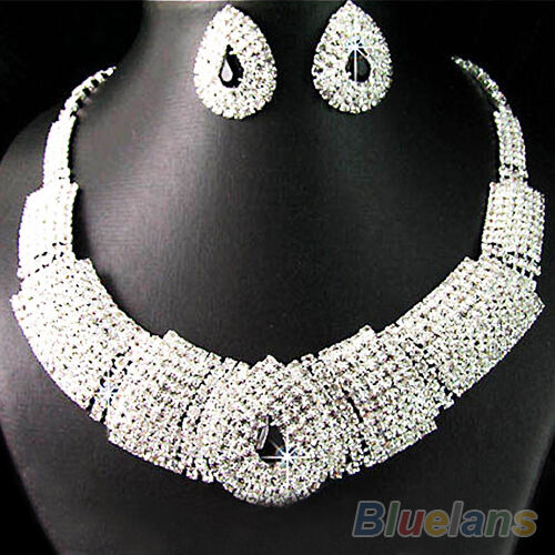 Women Lady Collar Rhinestone Statement Bib Necklace Earrings Set Jewelry F