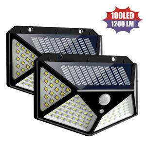 100-LED-Energia-Solare-Sensore-PIR-Movimento-Sensore-Parete-Luci-Esterno-Giardino-Lampada