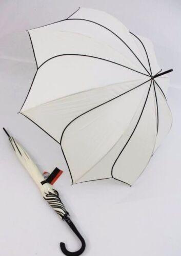 PIERRE CARDIN Glockenschirm Regenschirm Sunflower weiß Blüte Stockschirm