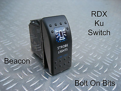 RDX Ku BLUE Beacon Strobe Light Switch OFF/ON Defender Dashboard Console Kit Car