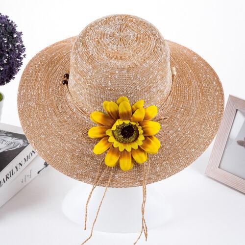 Fashion Summer Women Outdoor Floral Lady Beach Wide Brim Sun Straw Hat Girls Cap