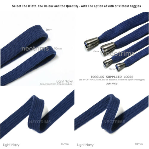 Sweatshirt Hoodie Flaches Baumwollband Ribbon Cordseil 10 /& 15mm,