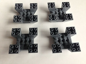 LEGO Lot of 2 Dark Gray 6x6x2 Inverted Quad Slopes
