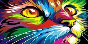 Abstract-Cat-Colourful-Animal-Modern-Wall-Art-Huge-Poster-amp-Canvas-Pictures