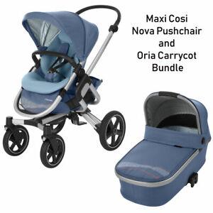 Brand New Maxi Cosi Nova Pushchair Stroller & Oria Carrcot in Blue RRP:£645