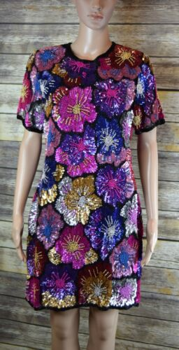 Vintage 80s-90s All Over Floral Pattern Fully Bead