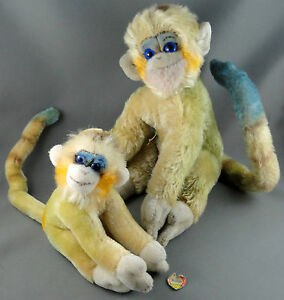 Steiff-Mungo-x2-Monkey-17-amp-25cm-Mohair-Plush-Blue-Glass-Eyes-ID-Chest-tag-1960s