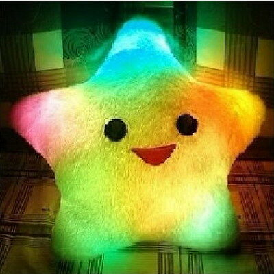 Pretty Gift Changing LED Colorful Light Smile Star Thrown Toss Pillow Cushion Q