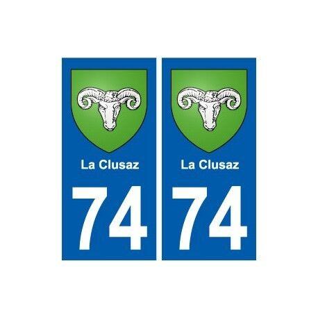 74 La Clusaz blason autocollant plaque stickers ville droits