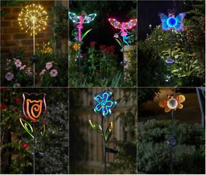 Solar Powered Garden Stake Lights Decorative Outdoor Ornaments Fairy Starburst Ebay