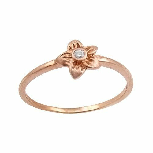 Sterling Silver CZ Flower Ring Size 4 5 6 7 Rose Gold