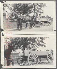 Vintage Snapshot Photos Man & Boy in Horse Drawn Cart 707772