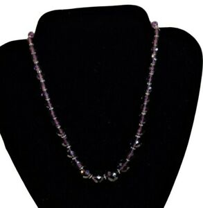 Amethyst-Necklace-Chunky-Strand-Purple-Stones-With-Crystal-Spacers-9-034-Drop