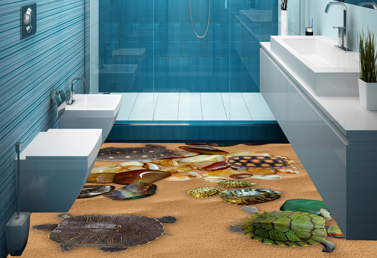 3D Turtle Stone Sand 41 Floor WallPaper Murals Wallpaper Mural Print AJ AU Lemon