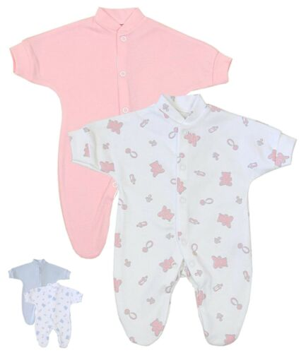 BabyPrem 2 x Premature Baby Sleepsuits Babygrows Preemie Girls Clothes 1-7lbs