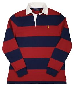 About Lauren Iconic Rugby Men's Stripe Shirt Polo Ralph Classic Fit Details Rednavy N8v0wmn