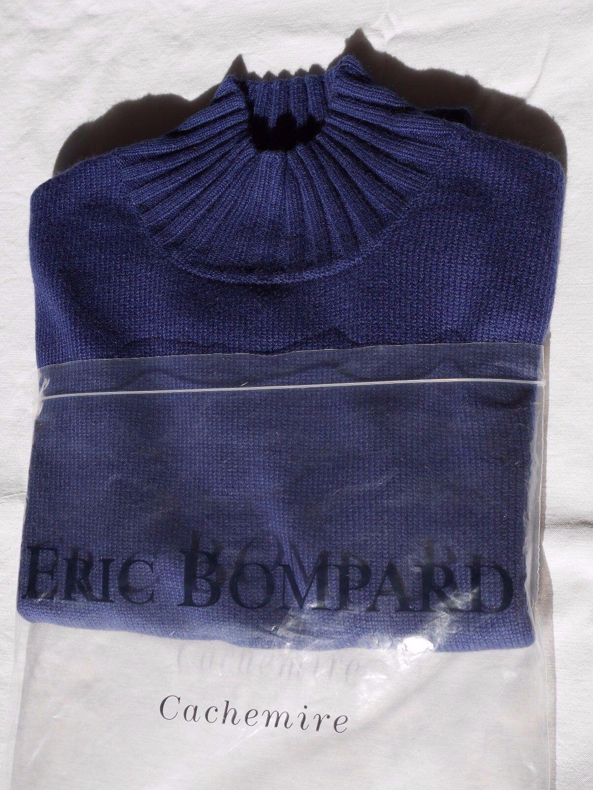 BOMPARD Pull Manche Courte manche courte Cachemire Soie Silk bleu M NEUF nouveau