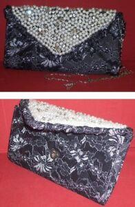 Perlenbesetzte Argent Soir Noir Gala Soirée Sac Pochette De À Main rrA1w8q