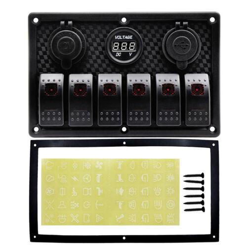 12V//24V 6gang Rot LED Bootslich Schalttafel Schaltpanel Boot USB Auto Ladegerät