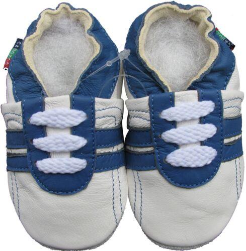 Shoeszoo Sports Bleu Blanc 18-24 M S1 semelle souple en cuir Crib Chaussures