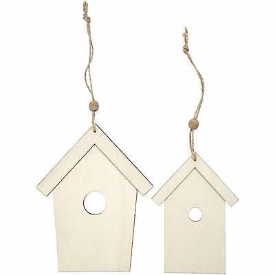 2 Wooden Bird House DieCut 17cm/13cm Hanging Decoration Plain Personalised Craft