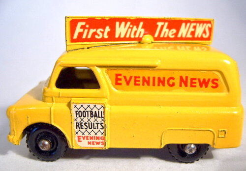 Matchbox RW 42a evening news van rare negras de plástico ruedas Top