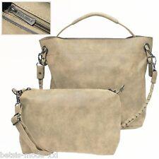 modische Kunstleder Bag-in-Bag-Tasche Handtasche Schultertasche taupe ELEGANCI