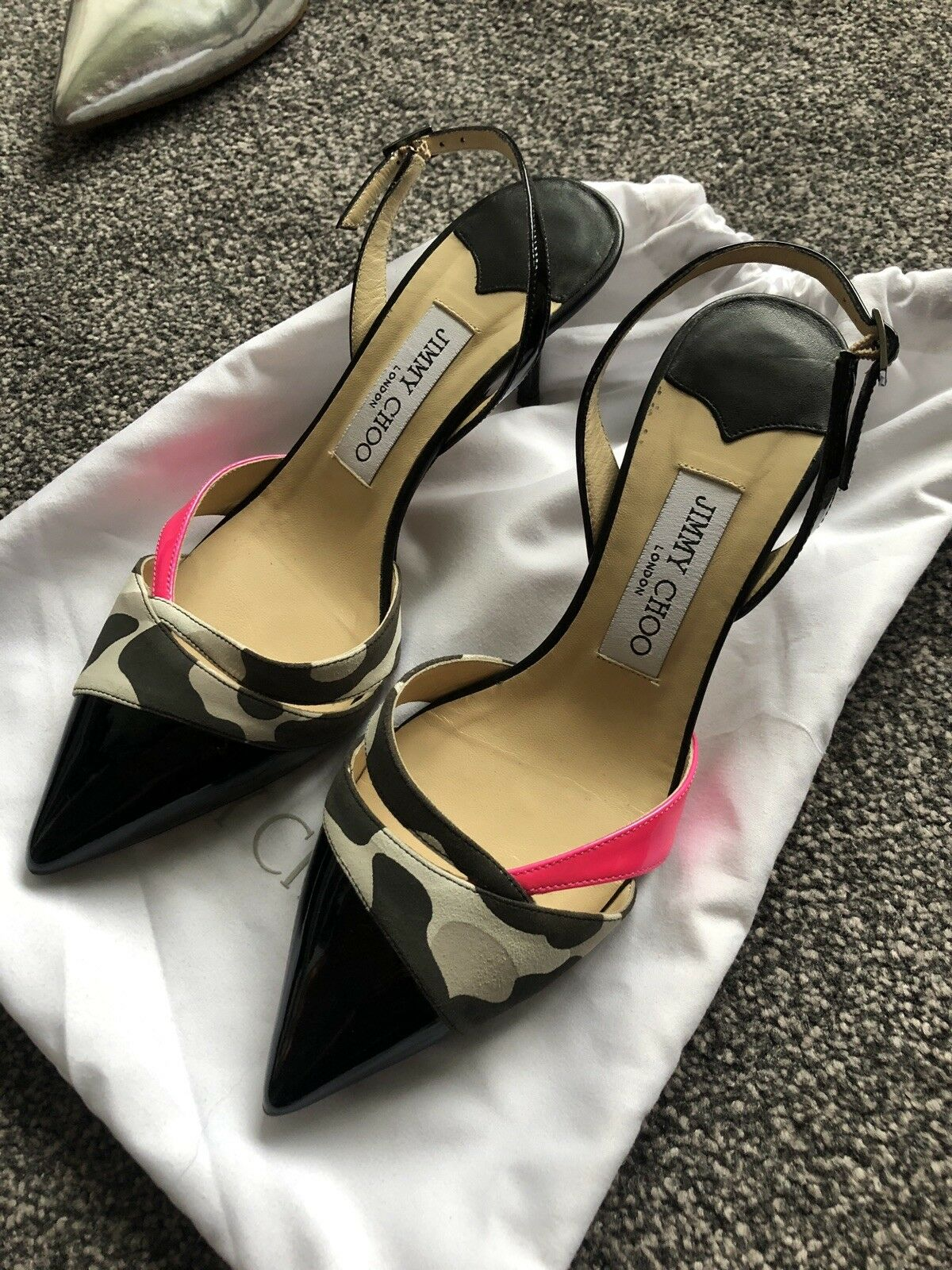 Stunning Jimmy Choo Camo Pink&Black Ankle Strap Heels Size 37.5 UK 4.5