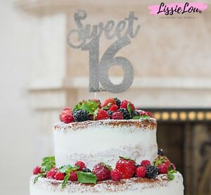 Image Is Loading LissieLou Sweet 16 Birthday Cake Topper 16th Glitter