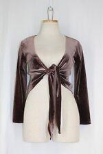 BCBG Velour Cardigan Jacket Topper MEDIUM Brown Cropped Stretch Tie Front 3/4 SL