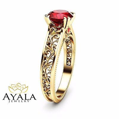14k Yellow Gold Ruby Engagement Ring Natural Ruby Bridal Ring Art Deco Ring Ebay