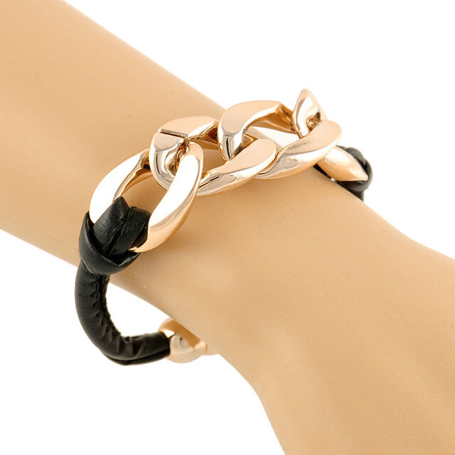 Vintage Classic Charm Women Plastic Chunky Curb Chain Bracelet Black PU Leather