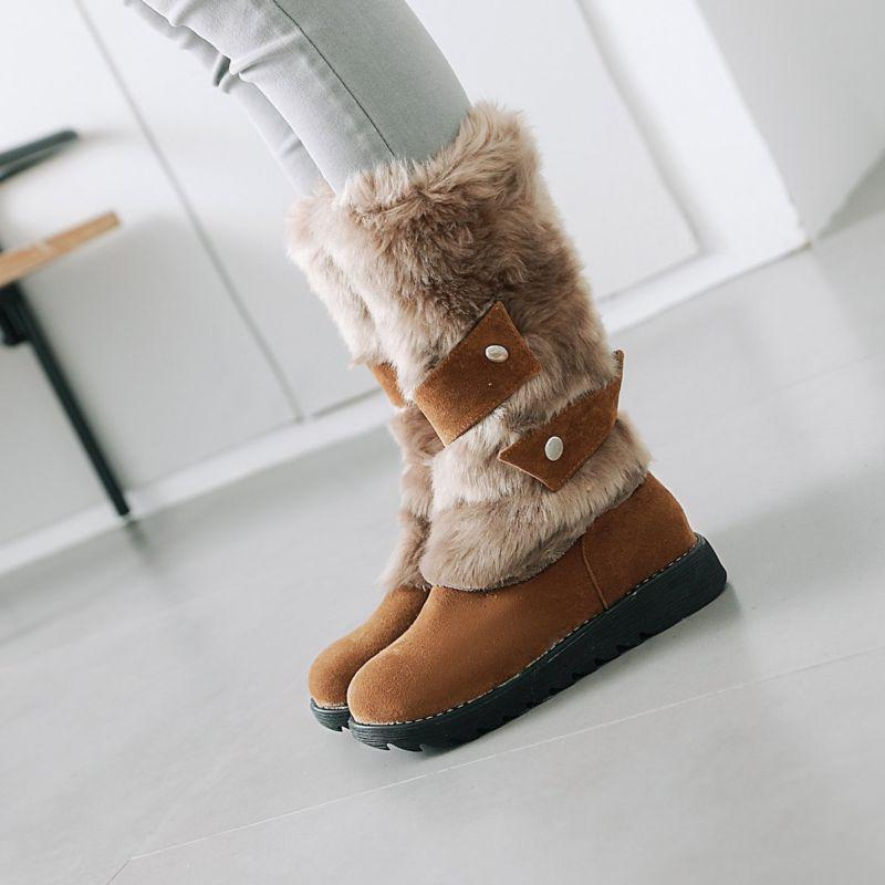 Ladies Wedge Heel Winter Snow Mid Calf Boots Fur Furry Buckle Strap Pull On Boot