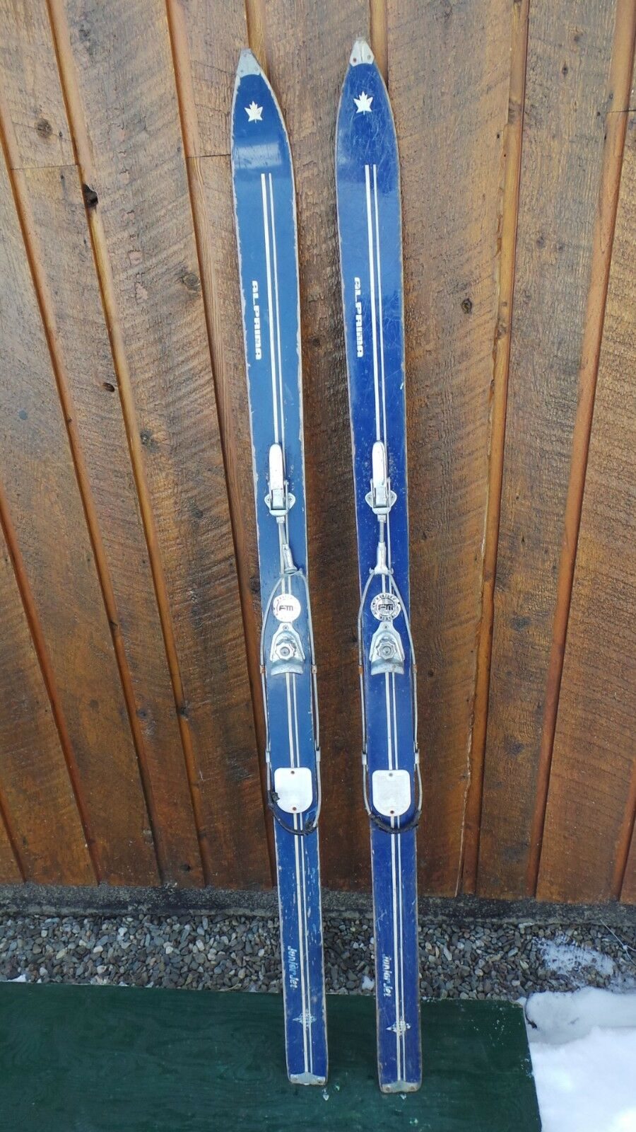 OLD Interesting Vintage Wooden 58  Long Skis and Metal Cable Bindings ALPRIMA