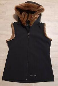 Marmot-Black-Furlong-Faux-Fur-Lined-Hooded-Sleeveless-Vest-Jacket-Womens-Sz-L