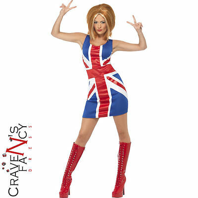 Ginger Spice Girls 90s Union Jack Dress Ladies Womens Fancy Dress Costume 8-18