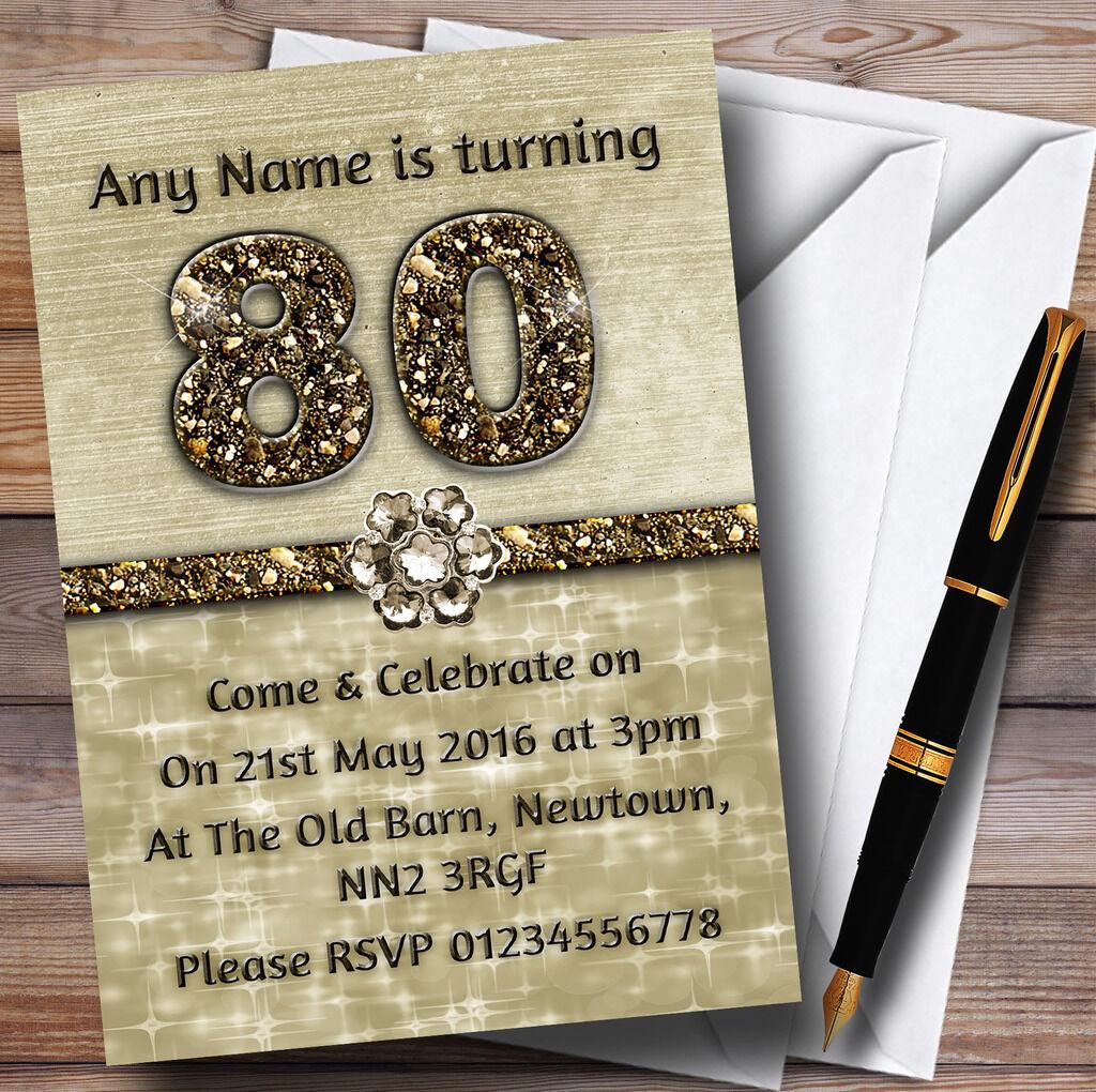 Titanio oro Brillantes 80 Personalizado Fiesta De Cumpleaños Invitaciones