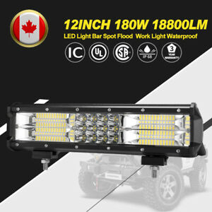 12Inch 180W LED Work Light Bar Triple Row Flood Spot Beam Driving Lamp Offroad