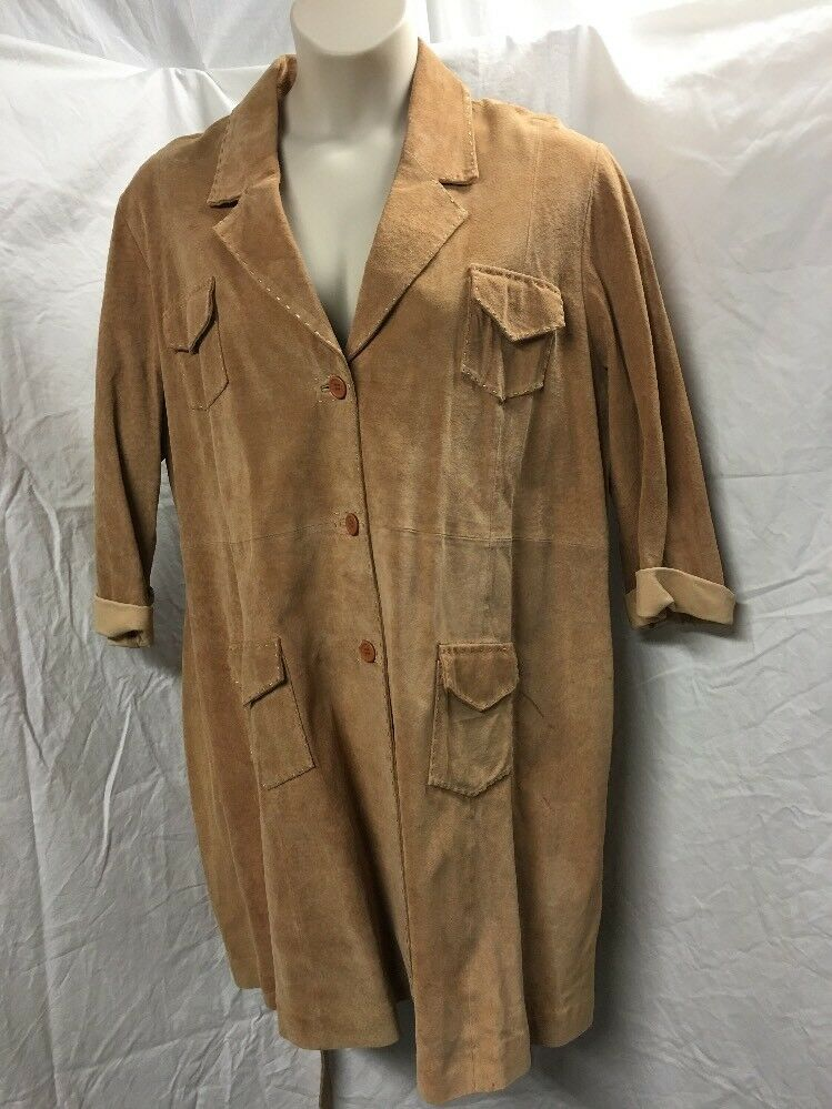 Suzanne Somers Collection, Full Length Suede Coat,  Size 3X