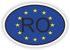 OVAL EUROPEAN UNION FLAG con RO Codice paese Autoadesivo Romania Motocycle auto