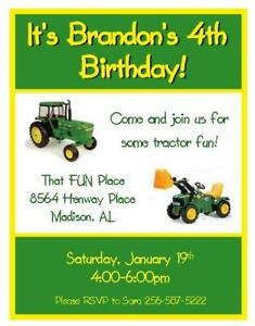 12 Tractor Birthday Invitations Ebay