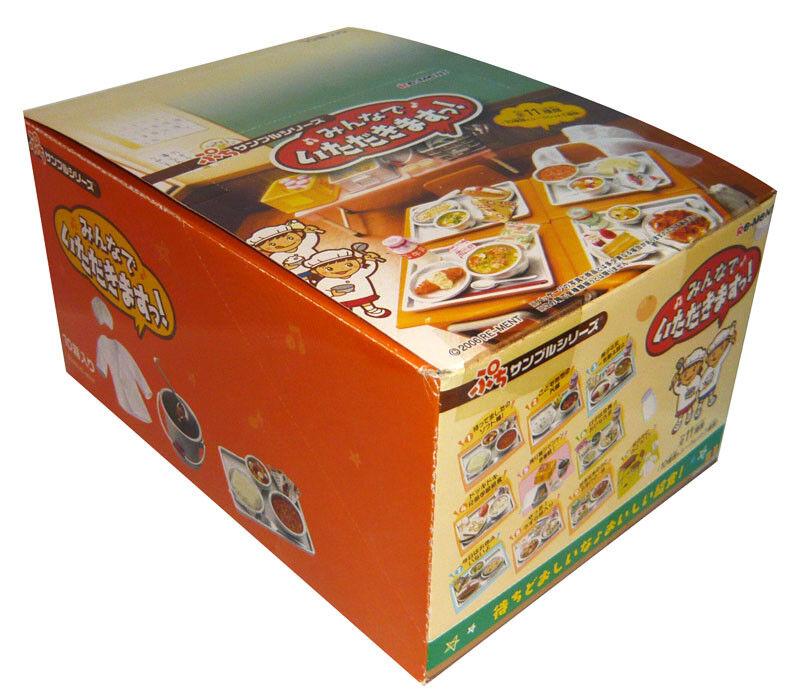 Raro 2006 re-ment Almuerzo Escolar Cena Set completo conjunto de 10 piezas