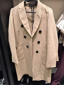 Zara New Masculine Cross-Over Double Breasted Tailored Wool Sold Coat M L
