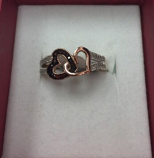 100% 10K pink gold Red  & White 0.17CT Diamond Double Heart Ring SZ 7 & 2.9gr