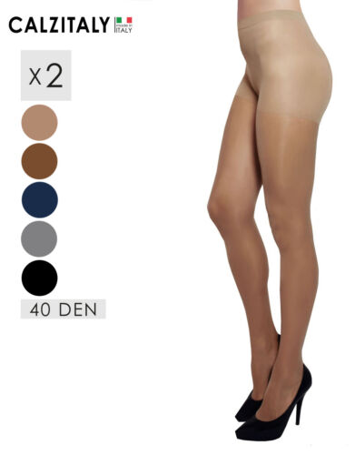 2 Pairs Sheer Tights 40 DEN Made in Italy Everyday Bare Pantyhose