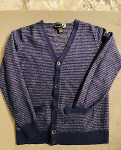 SAKS FIFTH AVE Blue Grey Button CARDIGAN 100% CASHMERE SWEATER - WOMENS M