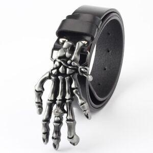 Skeleton-Ghost-hand-Buckle-Split-Leather-Harley-Davidson-Bikers-Belt-For-Men